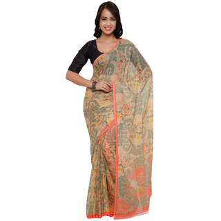 Vaamsi Beige Chiffon Printed Saree With Blouse