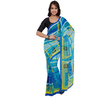 Vaamsi Blue Chiffon Printed Saree With Blouse