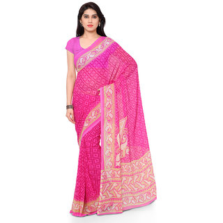 Vaamsi Pink Chiffon Printed Saree With Blouse