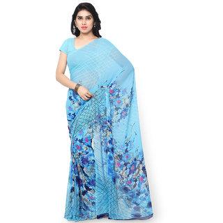 Vaamsi Blue Georgette Printed Saree With Blouse