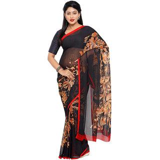 Vaamsi Black Chiffon Printed Saree With Blouse