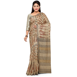 Vaamsi Beige Banarasi Silk Printed Saree With Blouse