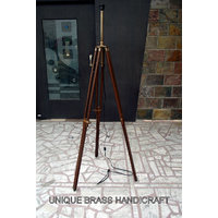 Timber Tripod Floor Lamp Stand Antique Finishing Authentic Lamp Corner Stand