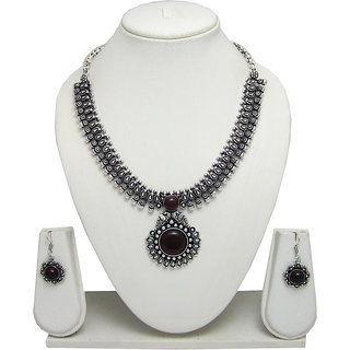 German Silver Necklace Set for Women with Maroon Stone Pendant SGM841