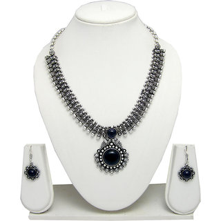 German Silver Necklace Set for Women with Blue Stone Pendant SGM840