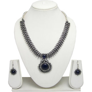 German Silver Necklace Set for Women with Blue Stone Pendant SGM839