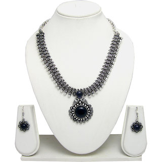 German Silver Necklace Set for Women with Blue Stone Pendant SGM838