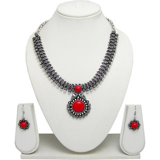 German Silver Necklace Set for Women with Red Stone Pendant SGM835