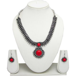 German Silver Necklace Set for Women with Red Stone Pendant SGM832