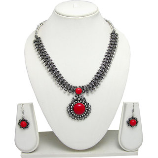 German Silver Necklace Set for Women with Red Stone Pendant SGM831