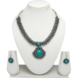 German Silver Necklace Set for Women with Sea Green Stone Pendant SGM824