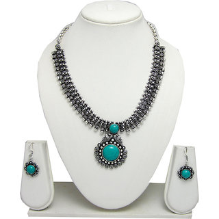 German Silver Necklace Set for Women with Sea Green Stone Pendant SGM823