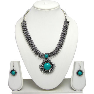 German Silver Necklace Set for Women with Sea Green Stone Pendant SGM822