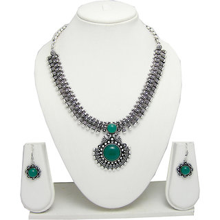 German Silver Necklace Set for Women with Green Stone Pendant SGM820
