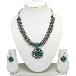 German Silver Necklace Set with Green Stone Pendant for Women SGM818