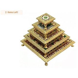 Meenakari Puja Bajot/Table/Chowki (Hindu Pooja, Indian Religious Chaurang), Subh Labh Design