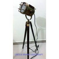 Antique Designer's Searchlight Floor Lamp With Antque Tripod Stand Antique Light