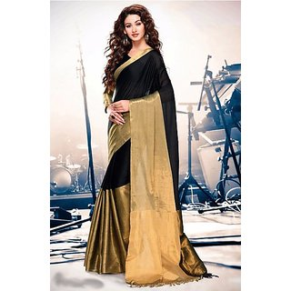 Glory sarees Black Chanderi Self Design Saree With Blouse