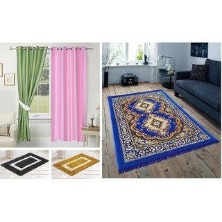 Azaani beautiful polyester set of 2 solid door curtains with one jute carpet  2 cotton bathmat,