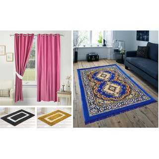Azaani beautiful polyester set of 2 solid door curtains with one jute carpet  2 cotton bathmat,