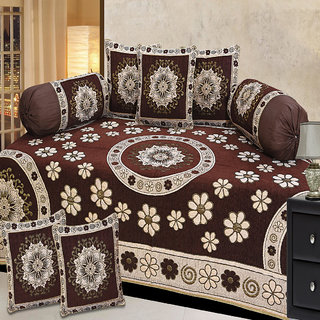 Choco Creation Velvet Diwan Set In Brown Colour