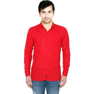 Fashion Trend Men's Red Slim Fit Poly-Cotton Shirt