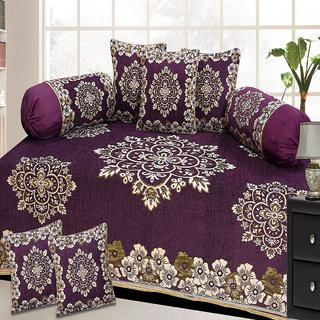 Choco Creation Velvet Diwan Set In Wine Colour