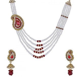 Penny Jewels Alloy Party Wear Antique Unique Stylish Necklace Set With Earring For Women  Girls