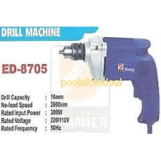 Damier Ed-8705 Electric Drill Machine -10mm 380w Heavy Duty Die-Caste Roter