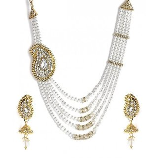 Jewels Gold Alloy Party Wear  Wedding Stylish Necklace Set With Earring For Women  Girls