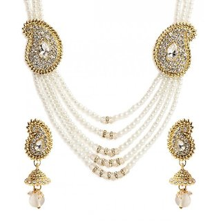 Jewels Gold Alloy Party Wear  Wedding Latest Designer Necklace Set With Earring For Women  Girls