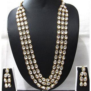 3 Line White Kundan necklace set