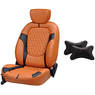 autodecor Honda Jazz Orange Leatherite Car Seat Cover with Neck Rest  Free