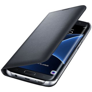 Samsung Galaxy On7 Premium Grade Black Leather Flip Cover