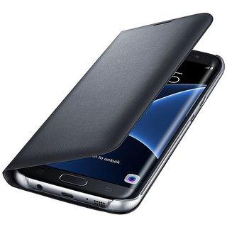 Samsung Galaxy J7 2016 J710 Premium Grade Black Leather Flip Cover