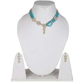 Jewels Gold Alloy Party Wear Fashion Designer Stylish Necklace Set With Earring For Women  Girls