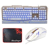 BlueFinger Gaming Keyboard Mouse Combo,LED Wired Metal