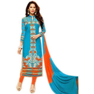 Glitters Light Blue Glace Cotton Semi Stitched Dress Material