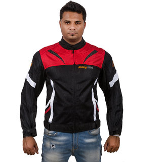 Autofy Unisex Water Resistant Riding Tribe Full Sleeves Rider Armour Jacket with Removable Padding (Red  Black,L)