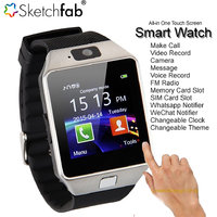 Sketchfab DZ09 Bluetooth Smart Watch Wrist Watch Phone with Camera  SIM Card Support - Silver