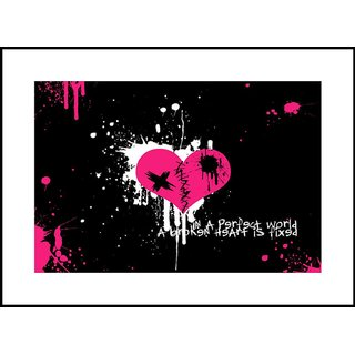 MYIMAGE Beautiful Heart Digital Printing  Framed Poster (13.0 inch x 19.0 inch)