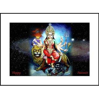 MYIMAGELord Durga Maa Beautiful Digital Printing  Framed Poster (13.0 inch x 19.0 inch)