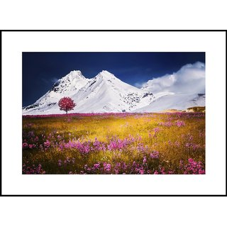 MYIMAGE  Natural Scene of mountain with garden   Digital Printing  Framed Poster (13.0 inch x 19.0 inch)