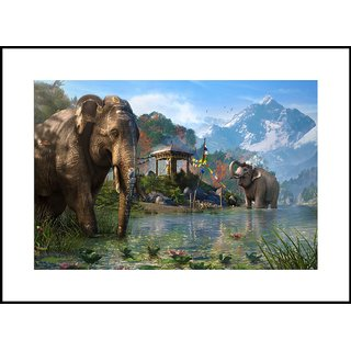 MYIMAGE  Natural Scene of Elephant bathing   Digital Printing  Framed Poster (13.0 inch x 19.0 inch)