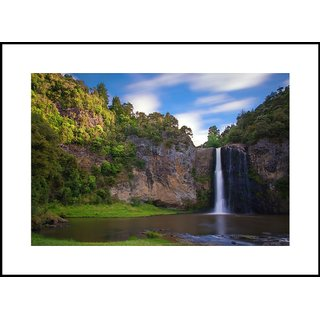 MYIMAGE  Natural Scene of Hanua Falls   Digital Printing  Framed Poster (13.0 inch x 19.0 inch)