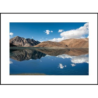 MYIMAGE  Natural Scene of Pangong Lake in Jammu and kashmir    Digital Printing  Framed Poster (13.0 inch x 19.0 inch)