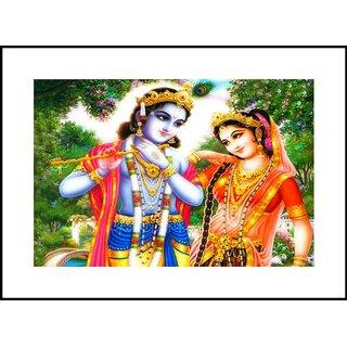 MYIMAGELord Shree Radhe Krishna Beautiful Digital Printing  Framed Poster (13.0 inch x 19.0 inch)
