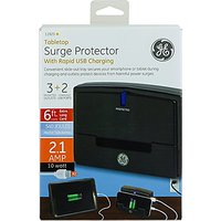 GE 3 Outlet 2 USB Table Top Surge Protector, 6ft Cable,