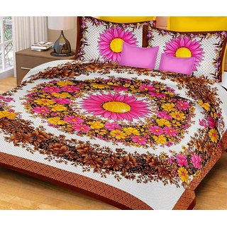 AS Super Soft sunflowers jaipuri Design Double Bedsheet with 2 Pillow Covers - Mahroon