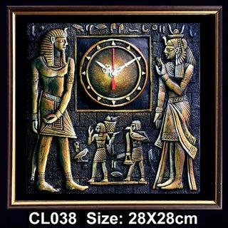 Terracotta Clay Clock - Pharaoh and Queen
